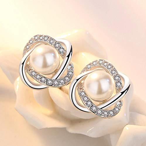 YYAMOMO Ohrstecker Damen Perlen Einfach Glänzend Elegant Anhänger Frisch Natürlich Persönlichkeit Kreativ Modeklassiker Studentin Edler Damenschmuck Geschenk