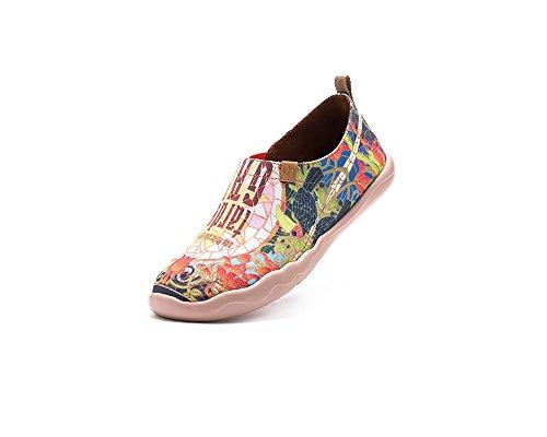 UIN Taudes de Gaudi Chaussures bateau de toiles peintes multicolore pour femme (37)