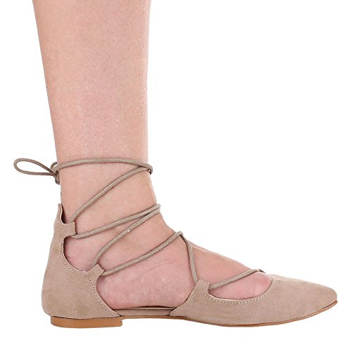 Damen Schuhe, 1351-PL, PUMPS SCHNÜR Hellbraun