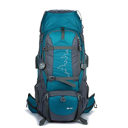 Rucksack Rucksack Wandern Outdoor 80L Reisen Lässige Daypack Hochleistungs-Taschen,Orange LakeBlue