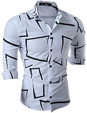 WanYang Uomo Tatuaggio Stampa Camicie Moda Casuale Men Shirts Slim Fit Fashion Shirts