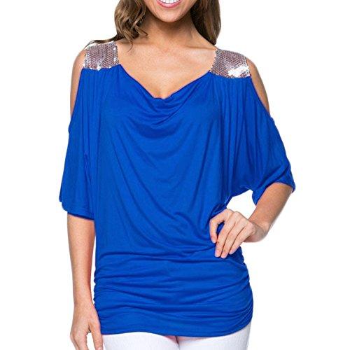 Damen T-shirt Kurzarm Rundkragen Loose Trägerlos Pailletten Stitching Casual Top Tops Blusenbody Blusen Oberteile Oberteil Blau