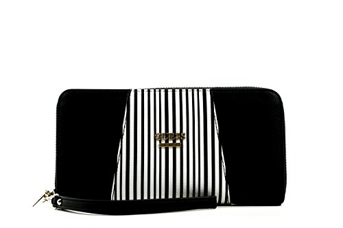 Guess Gia Slg Large wallet Zip Around Black Stripe
