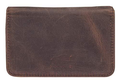 Solo Pelle Leder Visitenkartenetui Hülle Havana Vintage Braun - Echtleder Business Kreditkarten-Etui Visitenkarten-Box Geldbörse Portemonnaie Visitenkartenmappe aus echtem Leder