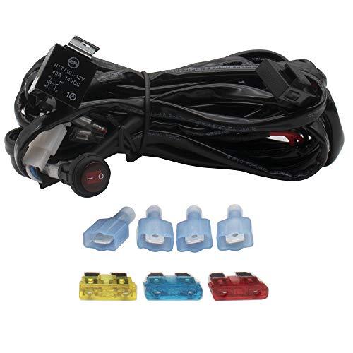 WANYIG Kabelbaum Kabelsatz Relais Adapter 300W(max.) 12V/24V 40A für 2PCS LED Off Road ATV Nebelscheinwerfer Scheinwerfer Arbeitsscheinwerfer Tagfahrleuchten Lichtleisten 300CM -