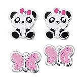 FIVE-D Lot de 2 Paires de Boucles d'oreilles pour Enfant Motif Panda et Papillon en Argent 925 dans Un étui Cadeau (pin/Bleu)
