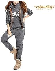 BYD Mujeres 3 Piezas Chándal Deportivos Hoodie Abrigo Sweatshirt Sudadera con Capucha + Chaleco Chaqueta + Pantalones