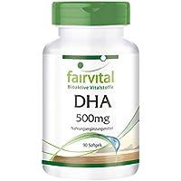 DHA 500mg - GROSSPACKUNG für 3 Monate - HOCHDOSIERT - 90 Softgels - Docosahexaensäure und Eicosapentaensäure