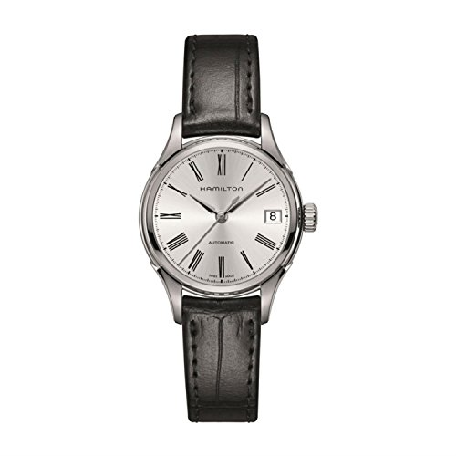 Hamilton Women's Valiant 34mm Black Leather Band Steel Case Automatic Silver-Tone Dial Watch H39415754