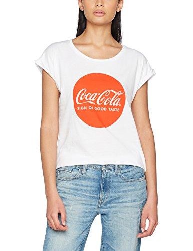 MERCHCODE Damen Coca Cola Round Logo Tee T-Shirt, White, M