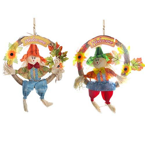IFOYO Vogelscheuchen-Kranz, 2 Stück, hängende Vogelscheuchen für Halloween-Dekorationen, Erntedank-Deko, Herbst/Ernte, Dekoration für Zuhause, Haustür, Innenwand Large Large Wreath