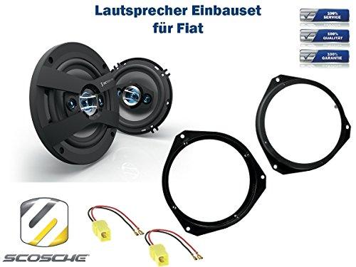 Fiat 500 (312) Lautsprecher Einbauset (Türe Front) inkl. Scosche HD6504 165mm 3 Wege Triaxial Lautsprecher 200Watt Scosche Audio