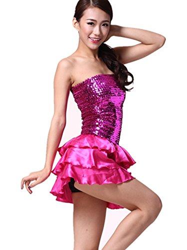 Damen Latin Dance Pailletten Brust verpackt Kleid Ballsaal Rock Standard Ball Kostüm Gr. Small, dunkelrosa