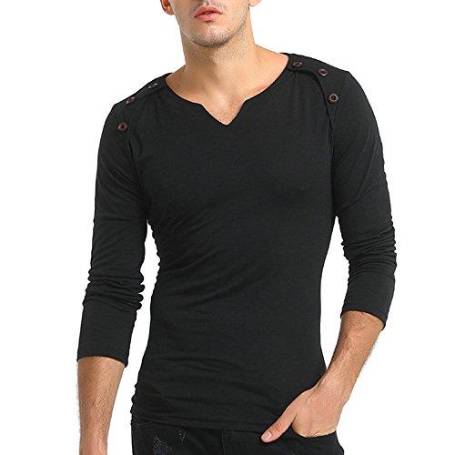DNOQN Running Shirt Herren T Shirt Lange ärmel Herren Herbst Reine Farbe Langarm Pullover Verschluss Sweatshirts Top Bluse L