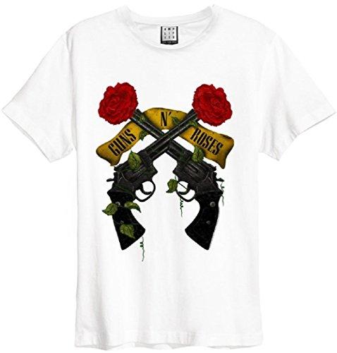 Amplified Herren T-Shirt Guns N Shooting Roses, (White Wh), S