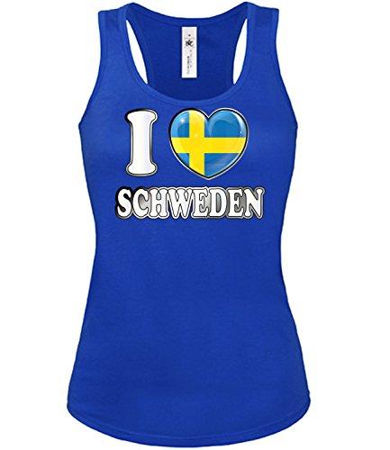 I Love Schweden Fussball Fanshirt 5009 Damen Fan Fun Tank Top Funshirt Blau XL