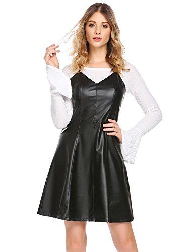 Damen Lederkleid Sexy Kleid mit V-Ausschnitt Ärmellos Partykleid Minikleid (Schwarz) (Damen Ärmelloses Sportbekleidung)