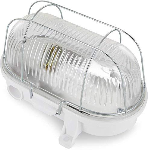 E27 IP54 weiß - Glasabdeckung - Metallgitter - max. 100W - Made in EU ()