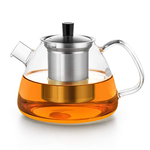 Friedos Tee - Teekanne mit Edelstahl Sieb und Deckel - 1100ml Fassungsvermögen für losen Tee oder Beutel - Kanne aus Borosilikat Glas mit Filter bis 130°C - 1100ml Volumen