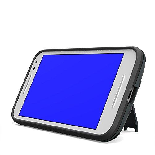 G4 Play Hülle,EVERGREENBUYING Abnehmbare Hybrid Schein Moto G Play 4th Generation Tasche Ultra-dünne Schutzhülle Case Cover mit Ständer Etui für Motorola Moto G Play (4th Gen.) Silber Silver