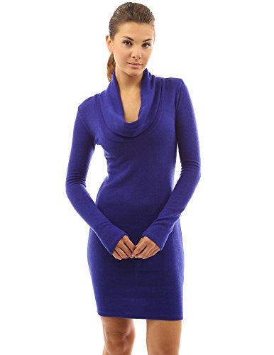 PattyBoutik Elégant col cheminée robe en tricot à manchés longues Bleu