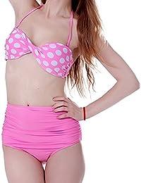 Womens Ladies Girl Sexy Retro Push-up Pin Up Padded High Waisted Bikini Swimsuit Beachwear Swimwear Bathing Suit SET by Boolavard® TM
