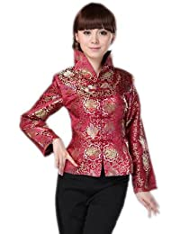 JTC Stand-Collar Wine Chinese Top Womens Oriental Tunic Outerwear Coat Long Sleeve Jacket