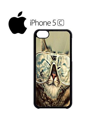 Geek Meow Cat Kitten Nerd Glasses Mobile Cell Phone Case Cover iPhone 5c Black Schwarz