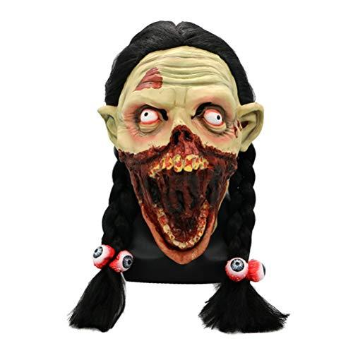 BESTOYARD Halloween Maske Mädchen Zombie Cosplay Kostüm mit Haaren für Erwachsene