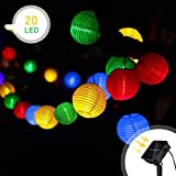 Uping Solar Lichterkette 20er led Lampion Laterne für Party, Garten, Weihnachten, Halloween, Hochzeit, Beleuchtung Deko in Innen und Außenbereich usw. Wasserdicht 4,5M mehrfarbig [Energieklasse A+++]