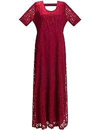 Beauty7 Encaje Completo Grande Vestidos de la Boda Maxi Faltas Mujeres Manga Corta Vestido Largo Ceremonia Matrimonio Boda Damas de Honor Verano Moda Elegante Negro Blanco Rojo Dress