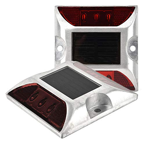 2 Stück Solarenergie Bodenmarkierungsleuchten, 6 LED wasserdichte Einfahrt Straße Stud Lampe für Straße, Pfad, Deck, Dock, Einfahrt, Garten (Rotlicht) - Installation Stud Tool