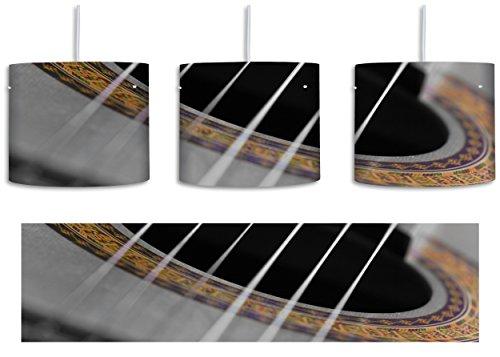 verziertes Schallloch einer Westerngitarre schwarz/weiß inkl. Lampenfassung E27, Lampe mit Motivdruck, tolle Deckenlampe, Hängelampe, Pendelleuchte - Durchmesser 30cm - Dekoration mit Licht ideal für Wohnzimmer, Kinderzimmer, Schlafzimmer