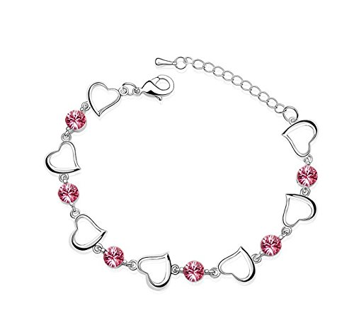 Saphira bigiotteria. fashion braccialetto in argento. Rosa cristallo austriaco. SWAROVSKI ELEMENTS. Adatto per 21 centimetri la massima circonferenza del polso. Piccoli cuori.