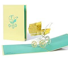Idea Regalo - Biglietto di auguri nascita bimbo o bimba con carrozzina 3d a comparsa, taglio al laser, fatto a mano, idea regalo battesimo, alta qualità, busta inclusa
