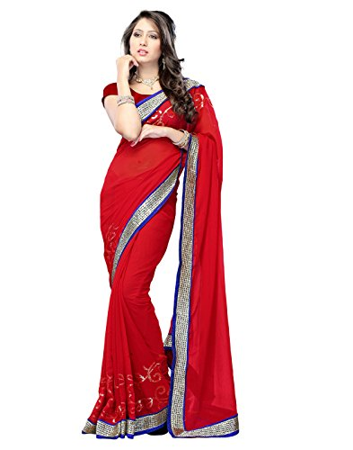 Sarees (Women's Clothing Chifon Saree For Women Latest Design Wear New Collection in Latest With Designer Blouse Free Size Beautiful Red Saree For Women Party Wear Offer Designer Sarees With Blouse Piece)