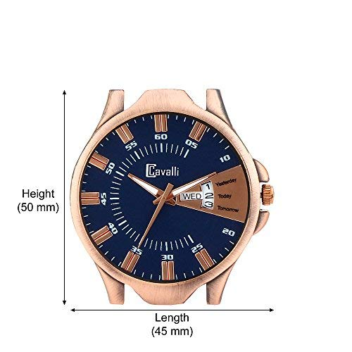 Cavalli Exclusive Series Blue Copper Dial Day & Date Analogue Boys and Mens Wrist Watch-Crcw539
