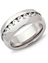 Exklusiver Unique Ring Edelstahl Zirkonia Steine R9101cz