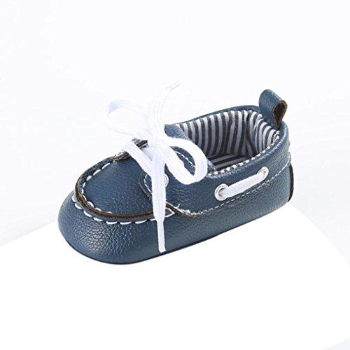 Baby schuhe Jamicy® Baby Mädchen Jungen Schnürung Leder Turnschuh rutschfeste weiche Sole Kleinkind (6~12 Monat, Schwarz) Blau