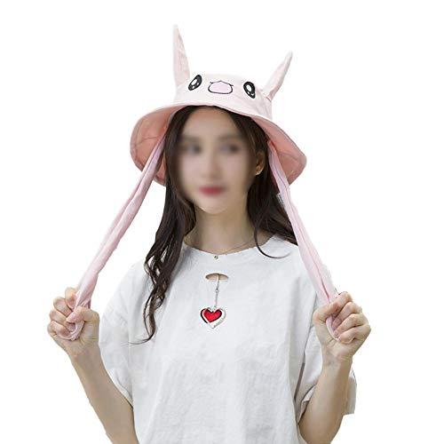 reativ Lustige Niedliche Kaninchen Ohren Hut Prise Tik Tok Gleicher Stil Ohr Bewegliche Basin Cap für Mädchen Student Frau ()