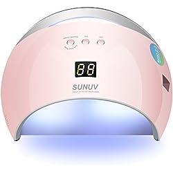 SUNUV SUN6 48W UV LED Sèche Ongles Lampe pour Gel, avec minuterie (30s, 60s, 99s), écran LCD, avec capteur et temps de durcissement à double vitesse pour toutes les gels (Rose)