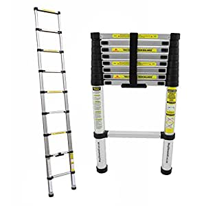 Charles Bentley DIY 2.6 M Extendable Extension Telescopic Ladder With EN131-1, EN131-2, EN131-3 Certificate - Free Delivery