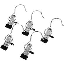 Songmics 50 Stück Hosenbügel metall Kleiderbügel Stiefelklammern Antirutsch, 4,5 x 10,5 cm - verchromt CRI001-50