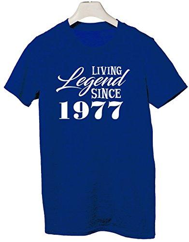 Tshirt Living legend since 1977 - idea regalo compleanno - happy birthday - Tutte le taglie by tshirteria Blu