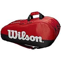 Wilson Bolsa para raquetas de tenis, Team, 3 compartimentos, Hasta 15 raquetas, Rojo/negro/blanco, WRZ857915