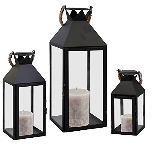 Mojawo® 3er Set XXL Gartenlaterne Metall Windlicht Laternen Kerzenhalter Set Höhe 25/40/51cm mit Seilgriff Schwarz