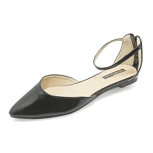AalarDom Femme Pointu Matière Mélangee Chaussures Légeres Noir