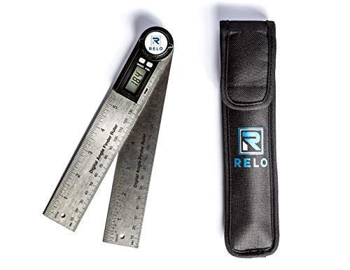 RELO - Winkelmesser - digitaler Winkelmesser mit praktischer Hold Funktion - inkl. Aufbewahrungstasche - hochwertige Edelstahllineale - Schenkellänge 200mm - optimaler Werkstatthelfer für Handwerker