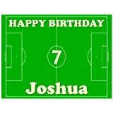 """Football Pitch Cake Topper by Deb's Kitchen Cakes - Personalised Edible Icing 8"""" x 10"""" (Send us your name and age by using the Gift Message facility on checkout)"""