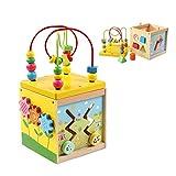 Cubo di Attività Giocattoli, con labirinto di legno, orologio con apprendimento e gioco sulle montagne russe, 5 in 1 giocattolo educativo multifunzione per bambini e ragazzi | Regalo di Natale ideale